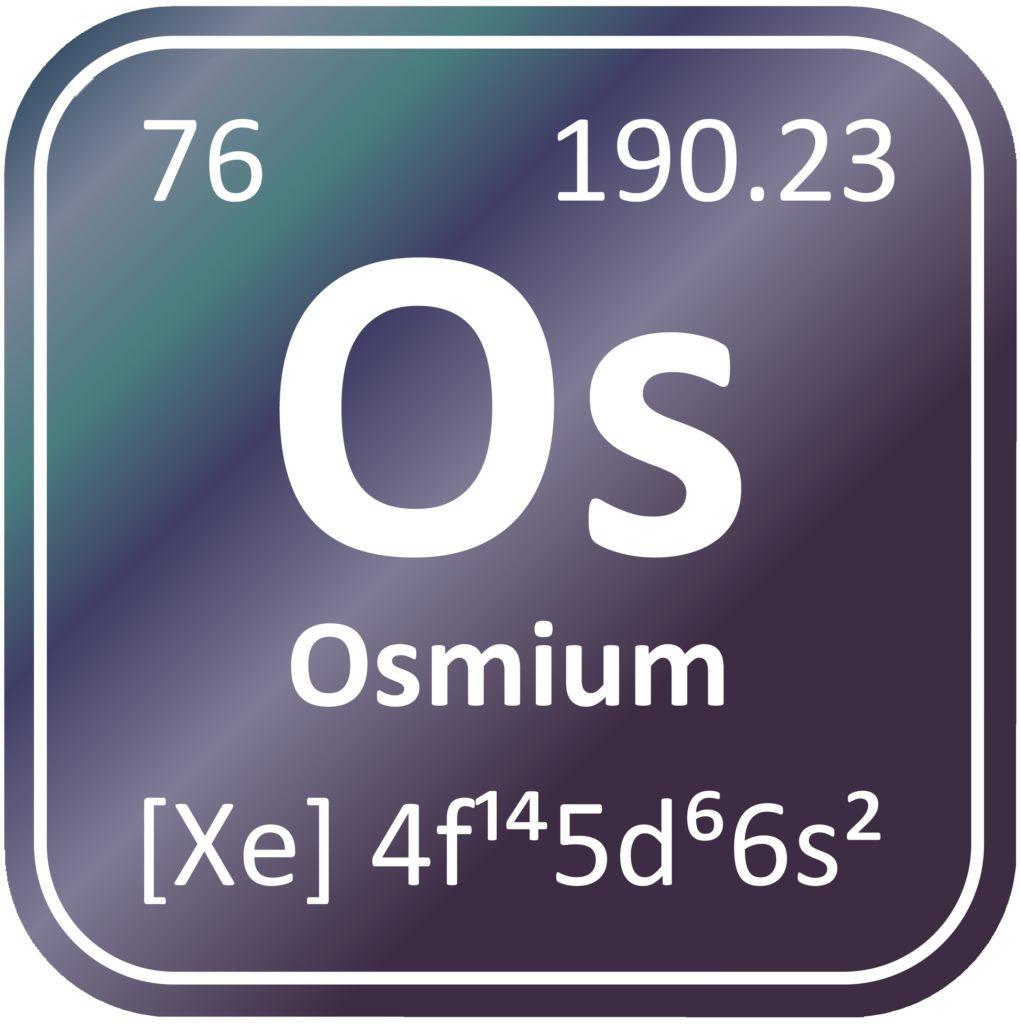 Osmium besitzt die Ordnungszahl 76 im Periodensystem der Elemente