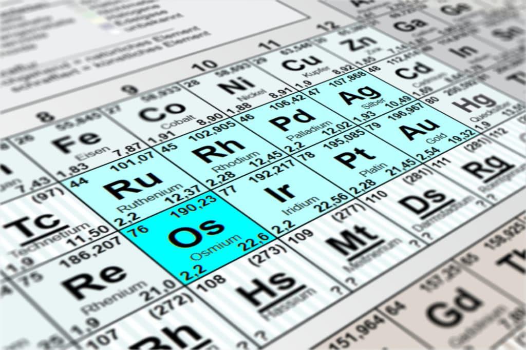 Im Periodensystem sticht Osmium mit seinen Eigenschaften hervor