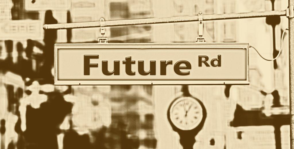 Ein Schild, welches die Richtung der Zukunft zeigt.