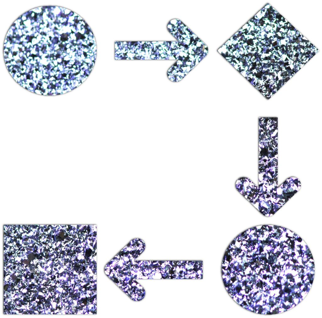 Osmium verwandelt seine Form von Pulver zu Kristallen und bildet so eine Edelmetallanlage