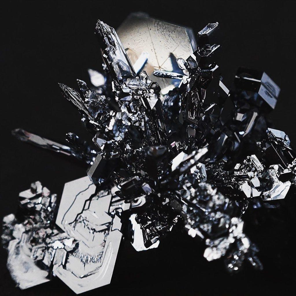 Osmiumkristalle müssen sich ausbilden, um das kristalline reine Edelmetall zu bilden