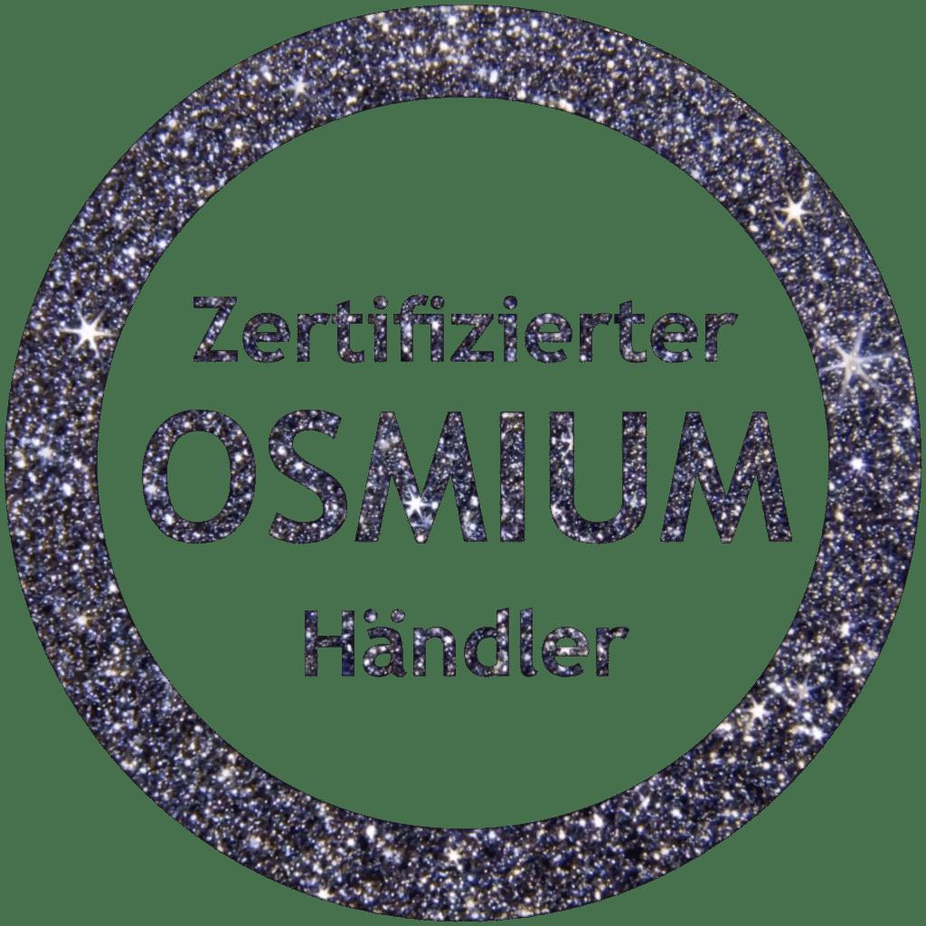 Logo vom zertifizierten Osmiumhändler als Kristallstruktur