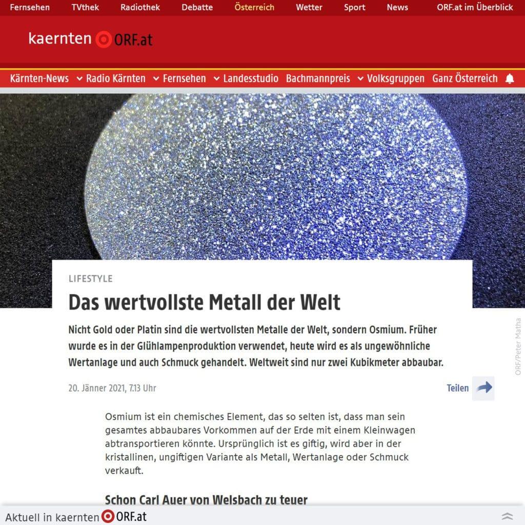 Der ORF berichtet über einen Vermögensberater, der Daten und Fakten über Osmium teilt.