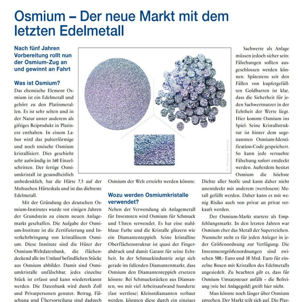 Die Wirtschaftskammer Österreich publiziert die Klärung wichtiger Fragen zum Edelmetall Osmium