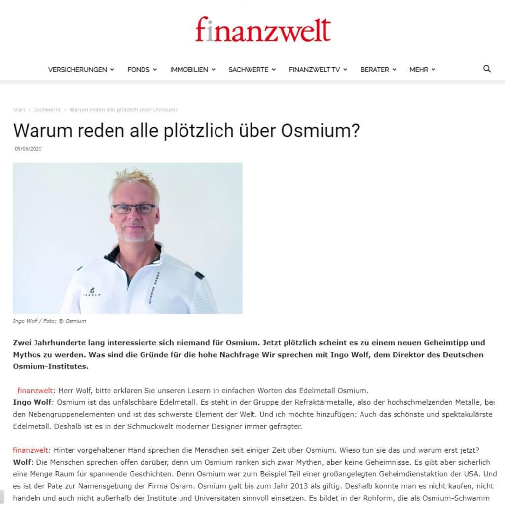 Die Finanzwelt veröffentlicht ein Interview mit dem Leiter des Osmium-Instituts.