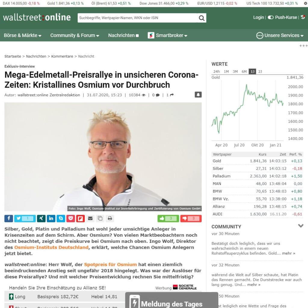 Die Wallstreet online berichtet über den Anstieg der Osmiumnachfrage auf dem Markt.