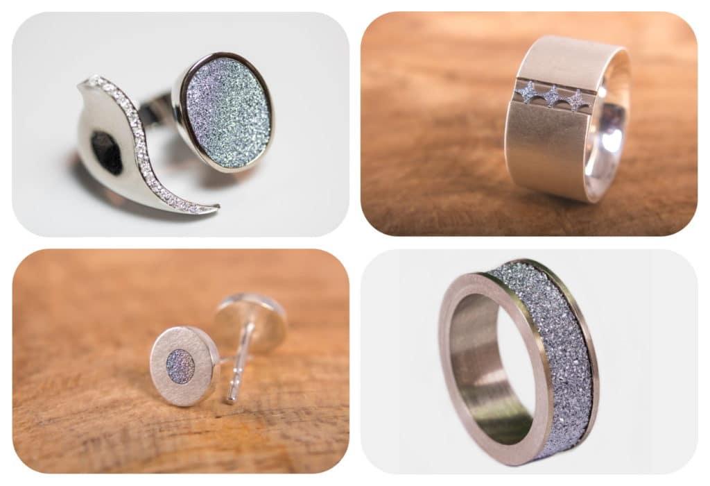 Eine Collage aus edlen Osmium-Juwelen zeigt unterschiedliche Fingerringe und Ohrstecker