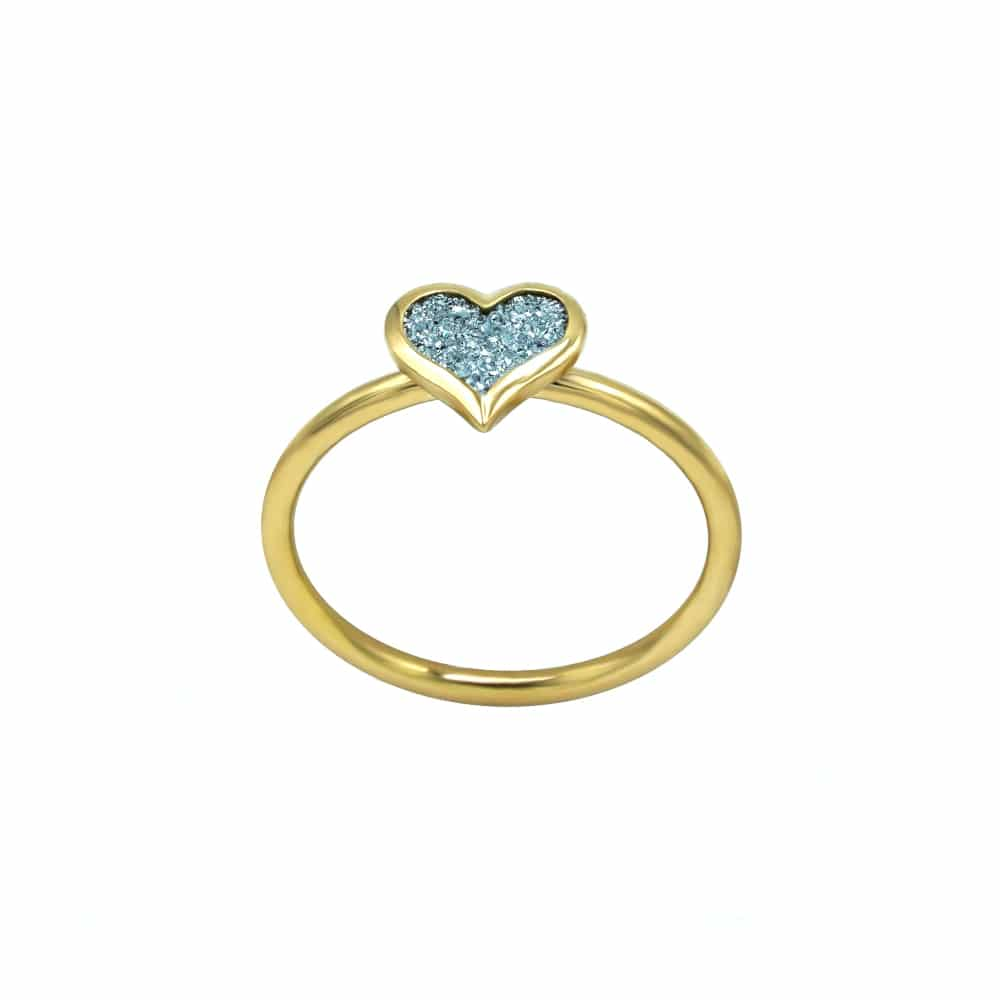 Ein Fingerring als Schmuckstück mit Osmium-Herzchen eingearbeitet
